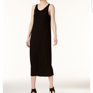Eileen Fisher stretch jersey scoop neck midi dress